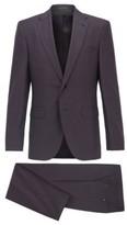 HUGO BOSS - Regular Fit Suit In Micro Patterned Wool - Dark Brown