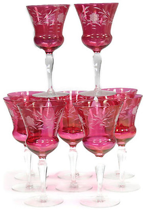 One Kings Lane Vintage 1920s French Bohemian Wine Stems - Set of 10 - THE QUEENS LANDING