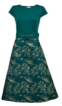 Dorothy Perkins Womens Luxe Green Belted Jacquard Midi Dress, Green