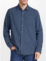 John Lewis Grid Check Soft Flannel Shirt, Blue