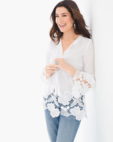 Chico's Lace Trim Peasant Top