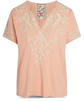 Johnny Was Oriana Embroidered Boxy Cotton Tee
