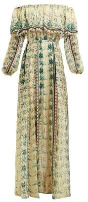 Raquel Diniz Josephine Garden Floral-print Silk-chiffon Dress - Womens - Yellow Multi