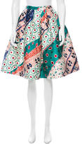 Oscar de la Renta Watercolor Print Full Skirt
