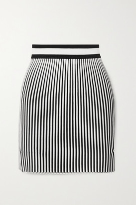 Off-White Off White Striped Ribbed-knit Mini Skirt - Black