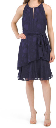 Ruched Dress With Tiered Skirt