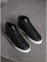 Burberry Check-quilted Leather High-top Trainers , Size: 36.5, Black