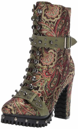Penny Loves Kenny Women's Frier Fashion Boot Green Baroque Fabric 6 Medium US
