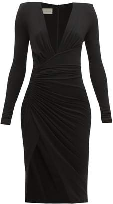 Alexandre Vauthier Plunge-neck Slit-front Dress - Womens - Black