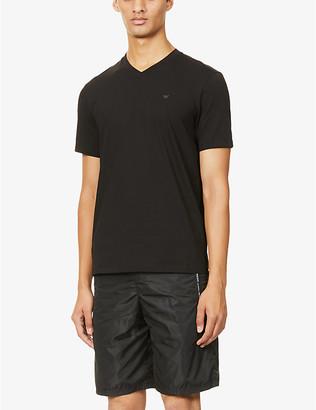 Emporio Armani Eagle V-neck cotton-jersey T-shirt