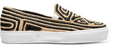 Robert Clergerie Woven Canvas Slip-On Sneakers
