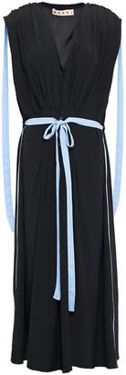 Marni Belted Pleated Crepe De Chine Midi Dress