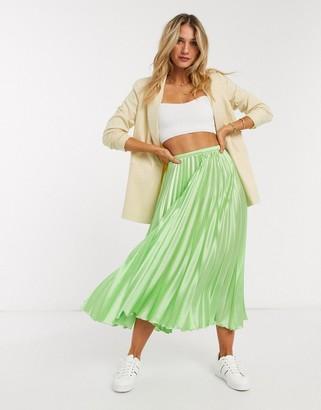 Asos DESIGN satin pleated midi skirt in lime green