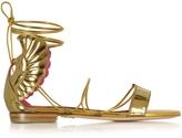 Oscar Tiye Malikah Gold Leather Flat Sandal