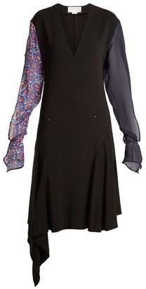 Esteban Cortazar Contrast-sleeve V-neck Stretch-crepe Dress - Womens - Black