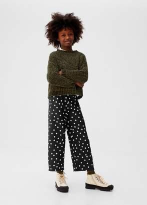 MANGO Structured polka-dot trousers