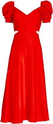 IORANE Cutout Waist Puff Sleeve Midi Dress