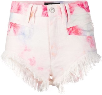 Isabel Marant Bleached Fringed Denim Shorts