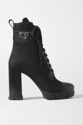Prada Logo-appliqued Nylon And Leather Ankle Boots - Black