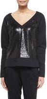 Donna Karan Long-Sleeve Sequin Sweatshirt, Black