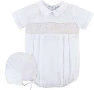 Carriage Boutique Smocked Christening Bodysuit & Bonnet Set
