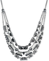 Givenchy Hematite-Tone Multi-Layer Crystal Collar Necklace