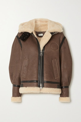 Chloé Hooded Leather-trimmed Shearling Jacket - Brown
