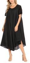 Sakkas Women's Casual Dresses Black - Black Embroidered Curved-Hem Midi Dress - Women