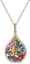 Effy Jewelry Watercolors Multi Sapphire & Diamond Pendant, 4.57 TCW