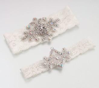 Lillian Rose Elegant Jeweled Ivory Lace GarterSet