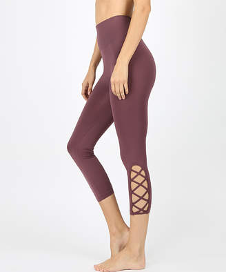Zenana Women's Leggings EGGPLANT_IPB - Eggplant Cutout Crop Tummy-Control Leggings - Women