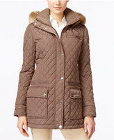 Calvin Klein Faux-Fur-Trim Water Resistant Hooded Quilted Coat