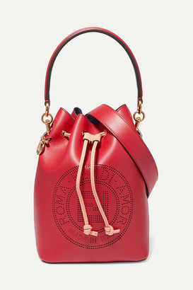 Fendi Mon Tresor Perforated Leather Bucket Bag - Red