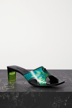 Versace Logo-embellished Holographic Printed Pvc Mules - Blue