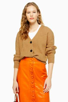 Topshop Womens Camel Knitted Super Soft Ribbed Cardigan - Camel