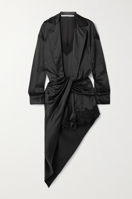 Alexander Wang Layered Draped Twist-front Lace-trimmed Silk-satin Playsuit - Black