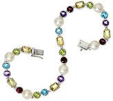 Honora As Is Cultured Pearl 6.5mm & Multi- gemstone Sterl. Tennis Bracelet