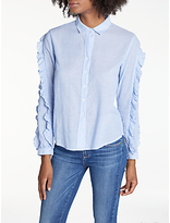 Rails Lizzi Ruffle Sleeve Shirt, Bellflower/White Mini Stripe