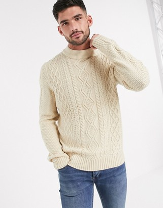 Burton Menswear cable knit turtle neck jumper in ecru