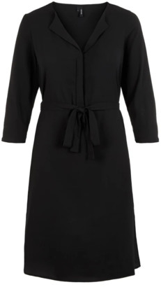 Vero Moda V-Neck Dress - medium | polyester | black - Black/Black