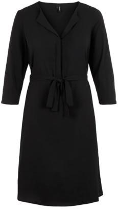 Vero Moda V-Neck Dress - small | polyester | black - Black/Black