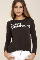 Chaser Blame Champagne Washed Black Long Sleeve Top