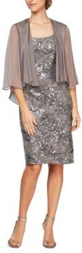 Alex Evenings Sequinned Lace Sheath Dress & Jacket