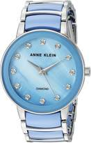 Anne Klein Women's Quartz Metal and Ceramic Dress Watch, Color:Blue (Model: AK/2673LBSV)