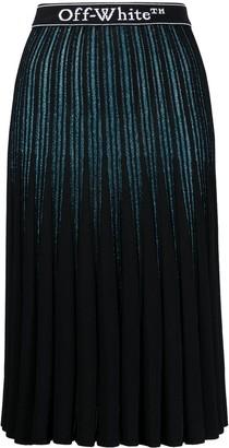 Off-White Glitter-Stripe Pleated Skirt