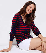 LOFT Striped Tie Neck Tunic Sweater
