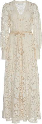 Zimmermann Bonita Bow-Detailed Crochet-Knit Cotton Lace Dress