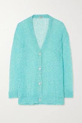 Miu Miu Sequined Mohair-blend Cardigan - Blue