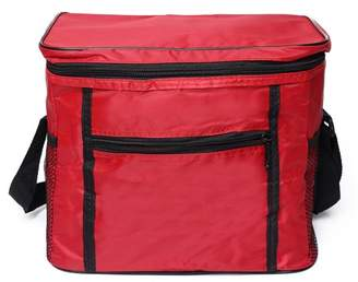 Ldpt LDPT Compact Insulated Lunch Bag Bento Container Cooler Tote Dual Compartment with Shoulder Strap and Front Pocket