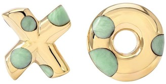 Retrouvaí 18kt yellow gold XO green turquoise inlay polka dot earrings